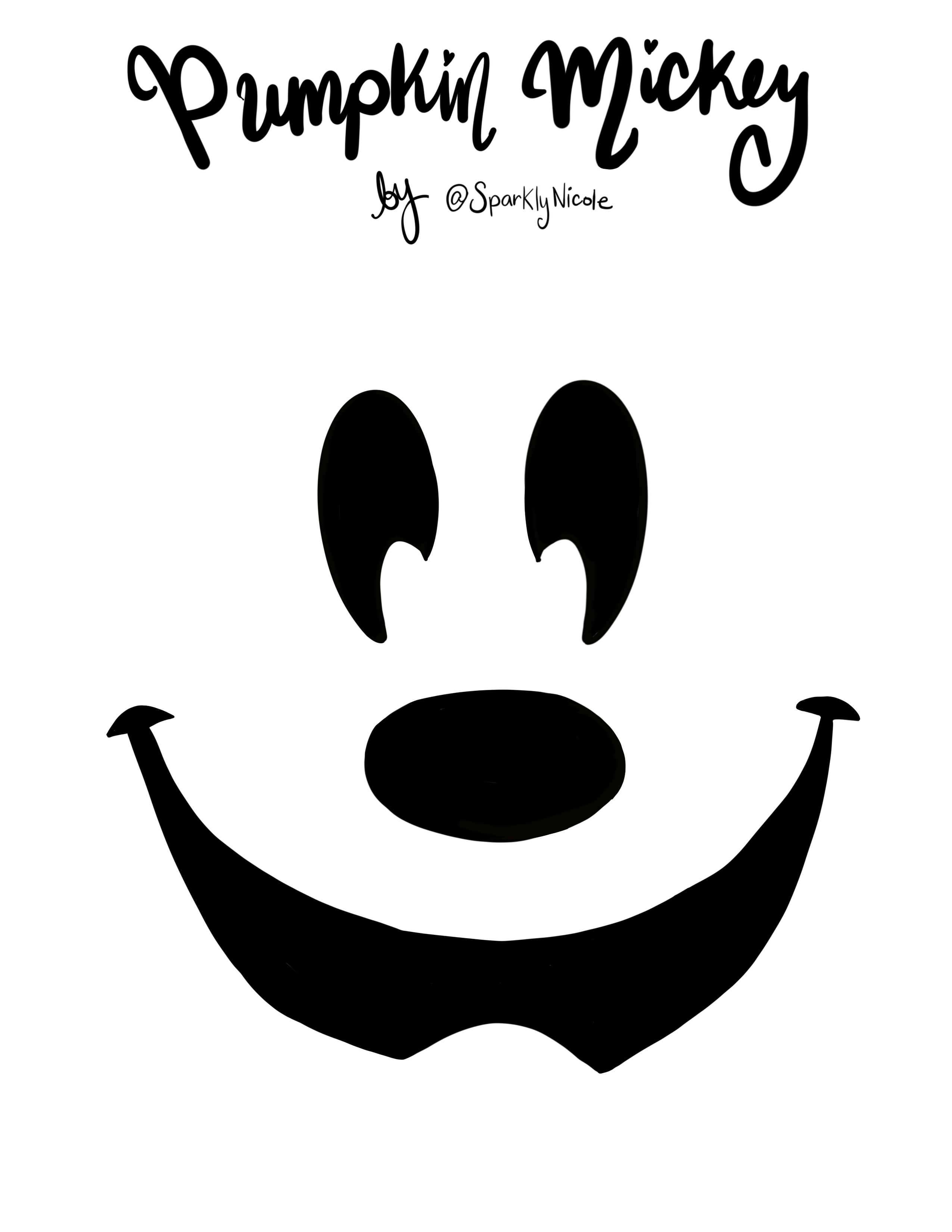 Disneyland Mickey Pumpkin Carving Stencil Sparkly Ever After